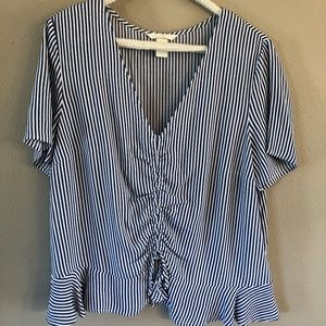Blue and White Striped Gathered Front Blouse
